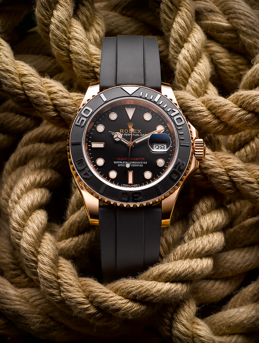 Rolex -rose gold watch shot on rope